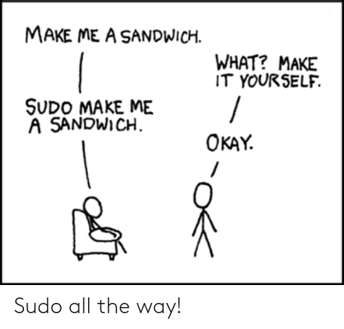 the way: Sudo all the way!