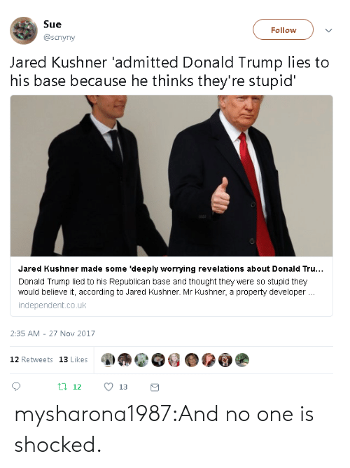 revelations: Sue  @scnyny  Follow  Jared Kushner 'admitted Donald Trump lies to  his base because he thinks they're stupid  Jared Kushner made some 'deeply worrying revelations about Donald Tru..  Donald Trump lied to his Republican base and thought they were so stupid they  would believe it, according to Jared Kushner. Mr Kushner, a property developer  independent.co.uk  2:35 AM - 27 Nov 2017  12 Retweets 13 Likes mysharona1987:And no one is shocked.