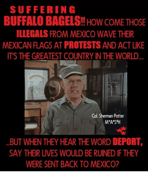 Shermanator: SUFFERING  BUFFALO BAGELS HOW COME THOSE  ILLEGALS FROM MEXICO WAVE THEIR  MEXICAN FLAGSAT PROTESTS AND ACTLIKE  ITS THE GREATEST COUNTRY INTHE WORLD  Col. Sherman Potter  M*A*S*H  BUT WHEN THEY HEAR THE WORD DEPORT,  SAY THEIR LIVES WOULD BERUINED IFTHEY  WERE SENT BACK TO MEXICO?