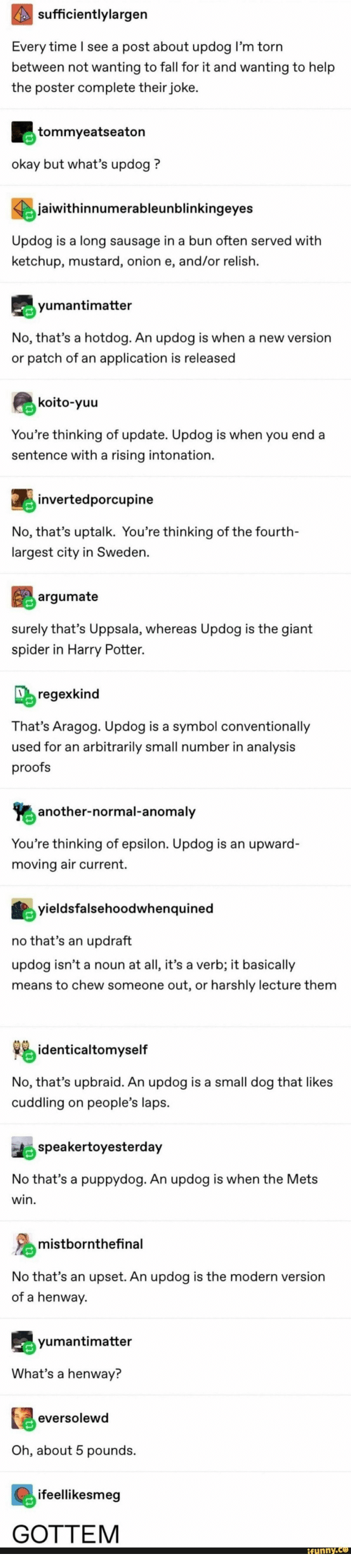 Youre Thinking: sufficientlylargen  Every time l see a post about updog l'm torn  between not wanting to fall for it and wanting to help  the poster complete their joke  tommyeatseaton  okay but what's updog?  jaiwithinnumerableunblinkingeyes  Updog is a long sausage in a bun often served with  ketchup, mustard, onion e, and/or relish.  yumantimatter  No, that's a hotdog. An updog is when a new version  or patch of an application is released  koito-yuu  You're thinking of update. Updog is when you end a  sentence with a rising intonation  jinvertedporcupine  No, that's uptalk. You're thinking of the fourth-  largest city in Sweden.  argumate  surely that's Uppsala, whereas Updog is the giant  spider in Harry Potter.  regexkind  That's Aragog. Updog is a symbol conventionally  used for an arbitrarily small number in analysis  proofs  another-normal-anomaly  You're thinking of epsilon. Updog is an upward-  moving air current.  yieldsfalsehoodwhenquined  no that's an updraft  updog isn't a noun at all, it's a verb; it basically  means to chew someone out, or harshly lecture them  identicaltomyself  No, that's upbraid. An updog is a small dog that likes  cuddling on people's laps  speakertoyesterday  No that's a puppydog. An updog is when the Mets  win  mistbornthefinal  No that's an upset. An updog is the modern version  of a henway  yumantimatter  What's a henway?  eversolewd  Oh, about 5 pounds  ifeellikesmeg  GOTTEM