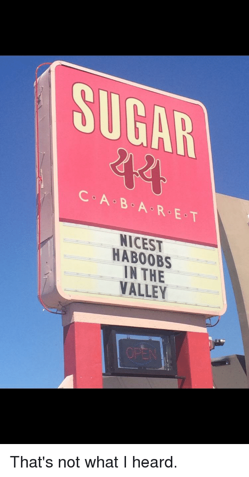 Funny, Sugar, and E.T.: SUGAR  C A B A R E T  NICES  HABOOBS  IN THE  VALLEY