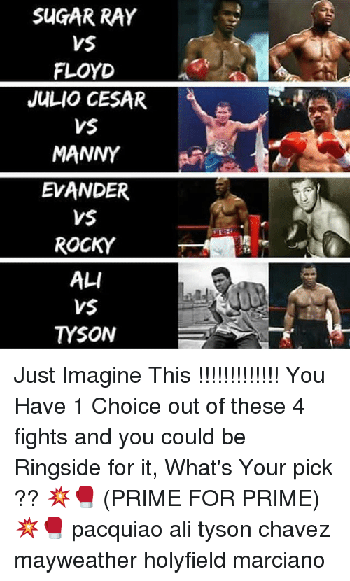 Ali, Mayweather, and Memes: SUGAR RAY  VS  FLOYD  JULIO CESAR  VS  MANNY  EVANDER  VSE  ROCKY  ALI  VS  TYSON Just Imagine This !!!!!!!!!!!!! You Have 1 Choice out of these 4 fights and you could be Ringside for it, What's Your pick ?? 💥🥊 (PRIME FOR PRIME) 💥🥊 pacquiao ali tyson chavez mayweather holyfield marciano
