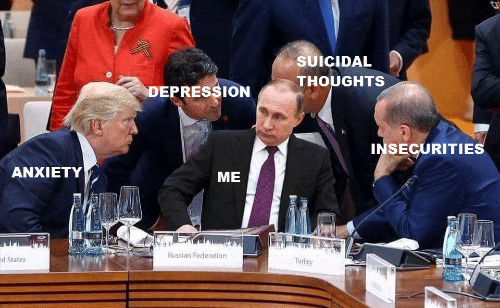 russian federation: SUICIDAL  THOUGHTS  DEPRESSION  INSECURITIES  ANXIETY  ME  Russian Federation  d States  Turkey