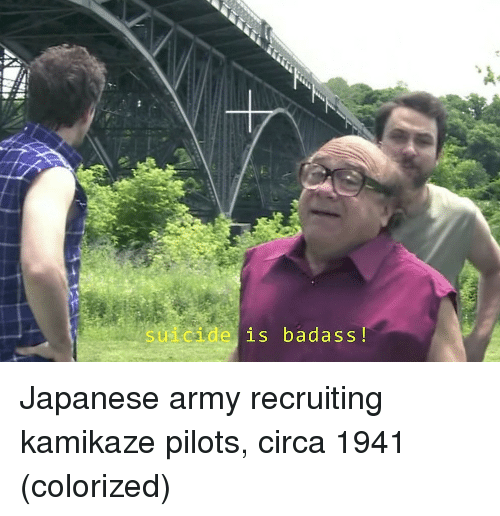Recruiting: suicide is badass! Japanese army recruiting kamikaze pilots, circa 1941 (colorized)
