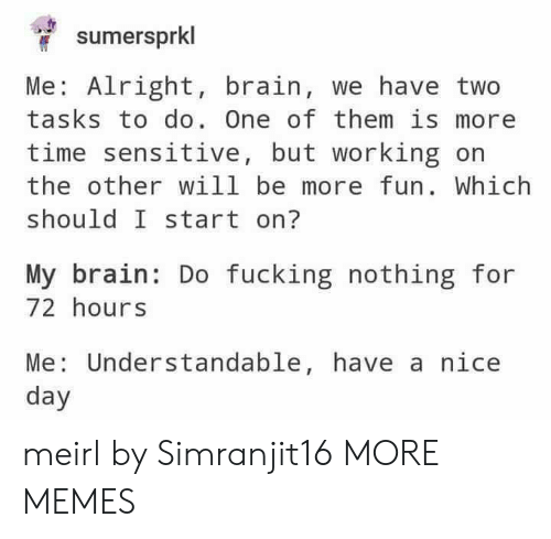 understandable: sumersprkl  Me: Alright, brain, we have two  tasks to do. One of them is more  time sensitive, but working on  the other will be more fun. Which  should I start on?  My brain: Do fucking nothing for  72 hours  Me: Understandable, have a nice  day meirl by Simranjit16 MORE MEMES