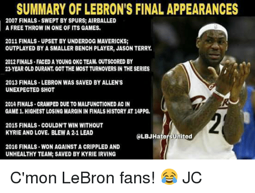 Unexpectancy: SUMMARY OF LEBRON'S FINAL APPEARANCES  2007 FINALS SWEPT BY SPURS AIRBALLED  A FREE THROW IN ONE OF ITS GAMES.  2011 FINALS UPSET BY UNDERDOG MAVERICKS;  OUTPLAYED BY A SMALLER BENCH PLAYER, JASON TERRY,  2012 FINALS FACEDAYOUNG OKC TEAM OUTSCORED BY  23 YEAR OLD DURANT, GOTTHE MOSTTURNOVERS IN THE SERIES  2013 FINALS LEBRON WAS SAVED BYALLEN'S  UNEXPECTED SHOT  2014 FINALS CRAMPED DUE TO MALFUNCTIONED ACIN  GAME 1.HIGHESTLOSING MARGIN IN FINALS HISTORY AT14PPG.  2015 FINALS COULDN'T WIN WITHOUT  KYRIE AND LOVE. BLEWA 2-1 LEAD  ed  2016 FINALS WON AGAINST A CRIPPLED AND  UNHEALTHY TEAM: SAVED BYKYRIE IRVING C'mon LeBron fans! 😂  JC