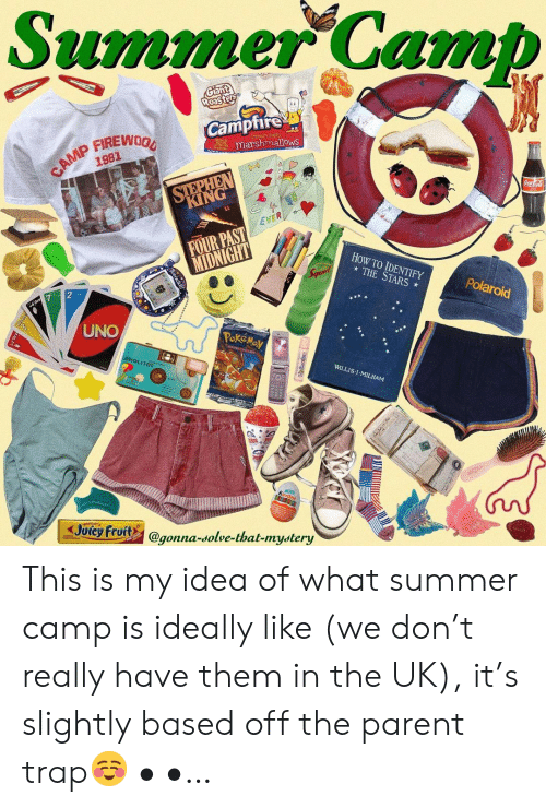 summer camp: Summer Camb  Camptire  marshmallows  1981  KING  EVER  FOUR PAST  HoW TO IDENTIFY  THE STARS  Polaroid  UNO  WILLIS:l . MILHAM  Joicy Fruits @gonna-solve-that-mystery  gonna-dolve-that-mydtery This is my idea of what summer camp is ideally like (we don't really have them in the UK), it's slightly based off the parent trap☺️ • •…