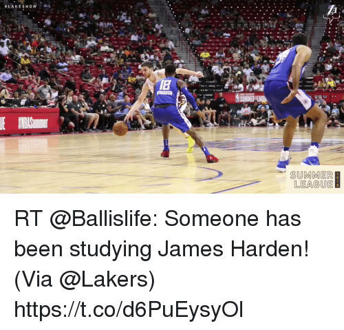 James Harden, Los Angeles Lakers, and Memes: SUMMER  LEAGUE RT @Ballislife: Someone has been studying James Harden!   (Via @Lakers)  https://t.co/d6PuEysyOl
