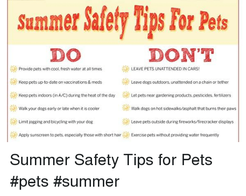 Cars, Dogs, and Fresh: Summer Safety Tips For Pets  DO  DON'T  Provide pets with cool. fresh water at all times E LEAVE PETS UNATTENDED IN CARS!  Keep pets up-to-date on vaccinations & meds  Leave dogs outdoors, unattended on a chain or tether  Keep pets indoors (in A/C) during the heat of the day  Let pets near gardening products. pesticides, fertilizers  E Walk your dogs early or late when it is cooler  Walk dogs on hot sidewalks/asphalt that burns their paws  Limit jogging and bicycling with your dog  Leave pets outside during fireworks/firecracker displays  Apply sunscreen to pets, especially those with short hair  Exercise pets without providing water frequently Summer Safety Tips for Pets            #pets #summer