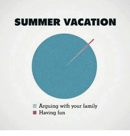 Family, Memes, and Summer: SUMMER VACATION  Arguing with your family  Having fun