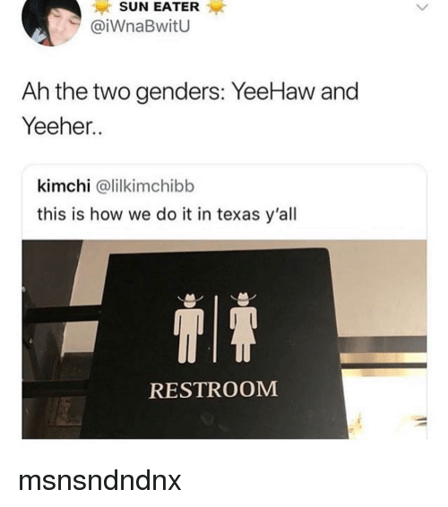 Memes, Texas, and This Is How We Do: SUN EATER  @iWnaBwitU  Ah the two genders: YeeHaw and  Yeeher..  kimchi @lilkimchibb  this is how we do it in texas y'all  RESTROOM msnsndndnx