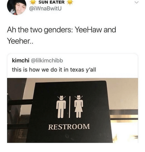 Memes, Texas, and This Is How We Do: SUN EATER  @iWnaBwitU  Ah the two genders: YeeHaw and  Yeeher..  kimchi @lilkimchibb  this is how we do it in texas y'all  RESTROOM