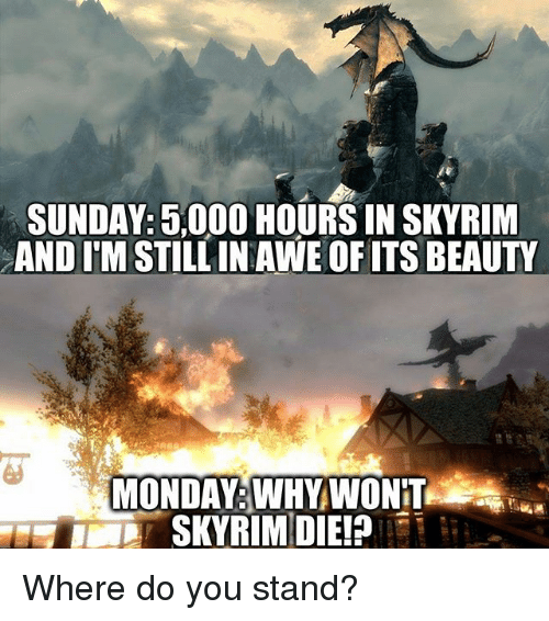 aweful: SUNDAY: 5,000 HOURS IN SKYRIM  AND ITM STILL IN AWE OF ITS BEAUTY  MONDAY WHY WONT Where do you stand?