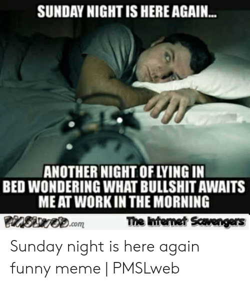 Pmslweb: SUNDAY NIGHT IS HERE AGAIN...  ANOTHER NIGHT OF LYING IN  BED WONDERING WHAT BULLSHIT AWAITS  ME AT WORK IN THE MORNING  nSuve.com  The Internet Scavengers Sunday night is here again funny meme | PMSLweb