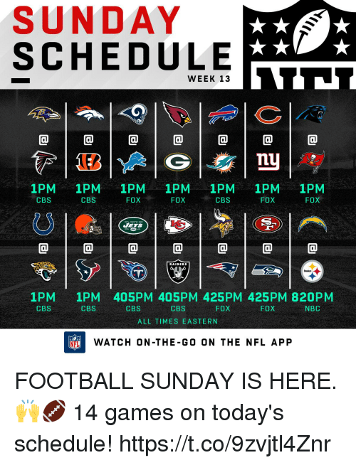 ets: SUNDAY  SCHEDULE  WEEK 13  @1@1@1@1@1@1@  nu  1PM 1PM 1PM 1PM 1PM 1PM 1PM  FOX  CBS  CBS  FOX  CBS  FOX  FOX  ETS  @1@1@1@1@1@1@  RAIDERS  1PM  CBS  1PM 405PM 405PM 425PM 425PM 820PM  CBS  CBS  CBS  FOX  FOX  NBC  ALL TIMES EASTERN  FLWATCH ON-THE-GO ON THE NFL APP FOOTBALL SUNDAY IS HERE. 🙌🏈   14 games on today's schedule! https://t.co/9zvjtl4Znr