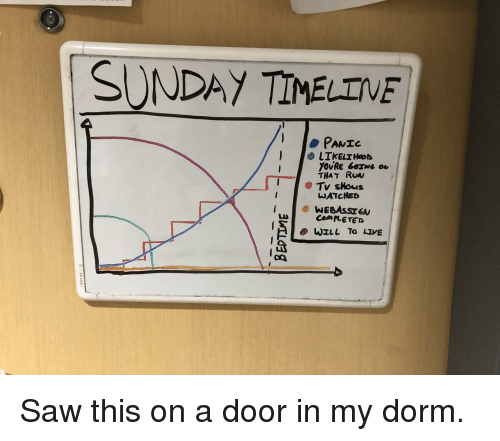dorm: SUNDAY TIMELTVE  PANIC  LIkELrHaod  YOURE GOING  THAT Ruw  WATCHED  cn Saw this on a door in my dorm.