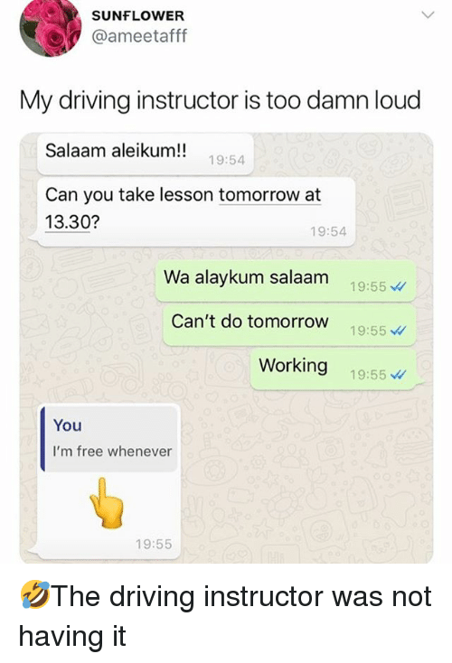 Driving, Memes, and Free: SUNFLOWER  @ameetafff  My driving instructor is too damn loud  Salaam aleikum!!19-54  Can you take lesson tomorrow at  13.30?  19:54  Wa alaykum salaam 19:55  Can't do tomorrow 19:55  Working 19:55  You  I'm free whenever  19:55 🤣The driving instructor was not having it