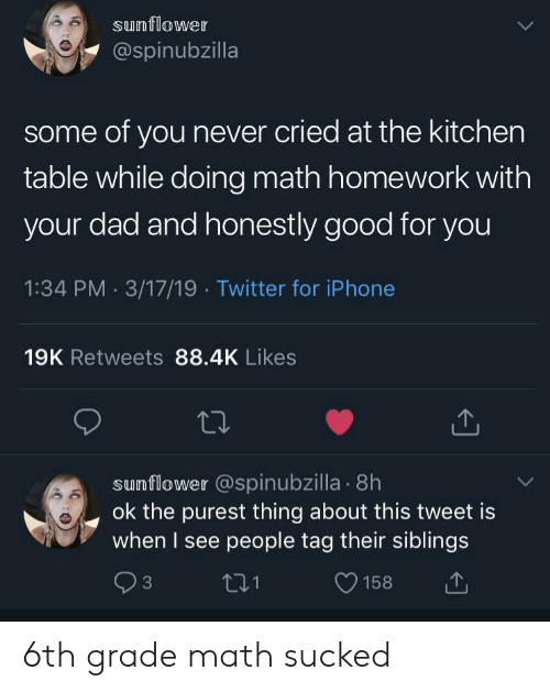 Math Homework: sunflower  @spinubzilla  some of you never cried at the kitchen  table while doing math homework with  your dad and honestly good for you  1:34 PM 3/17/19 Twitter for iPhone  19K Retweets 88.4K Likes  sumflower @spinubzilla . 8h  ok the purest thing about this tweet is  when I see people tag their siblings  t31  O158 6th grade math sucked