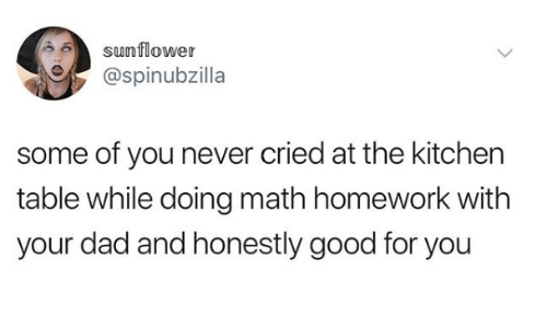 Math Homework: sunflower  @spinubzilla  some of you never cried at the kitchen  table while doing math homework with  your dad and honestly good for you