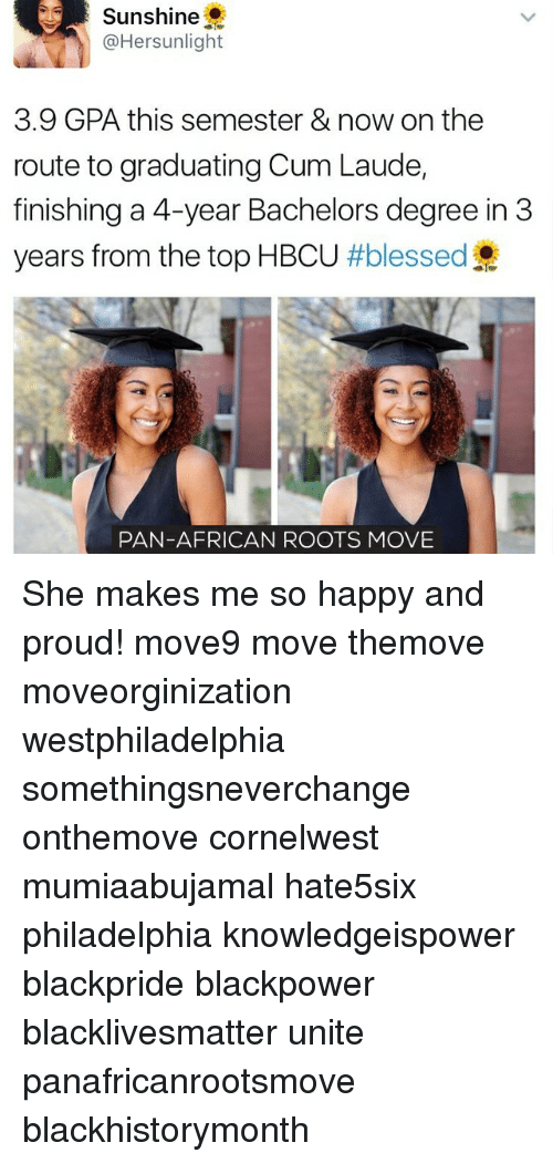 Black Lives Matter, Blessed, and Cum: Sunshine  @Hersunlight  3.9 GPA this semester & now on the  route to graduating Cum Laude,  finishing a 4-year Bachelors degree in 3  years from the top HBCU  #blessed  PAN-AFRICAN ROOTS MOVE She makes me so happy and proud! move9 move themove moveorginization westphiladelphia somethingsneverchange onthemove cornelwest mumiaabujamal hate5six philadelphia knowledgeispower blackpride blackpower blacklivesmatter unite panafricanrootsmove blackhistorymonth