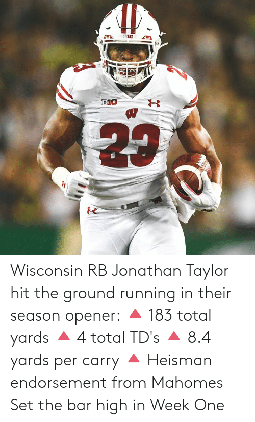 Opener: Sup me  BIG Wisconsin RB Jonathan Taylor hit the ground running in their season opener:  🔺 183 total yards 🔺 4 total TD's 🔺 8.4 yards per carry 🔺 Heisman endorsement from Mahomes  Set the bar high in Week One