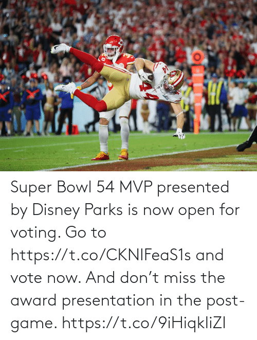Disney: Super Bowl 54 MVP presented by Disney Parks is now open for voting. Go to https://t.co/CKNIFeaS1s and vote now.   And don't miss the award presentation in the post-game. https://t.co/9iHiqkIiZI