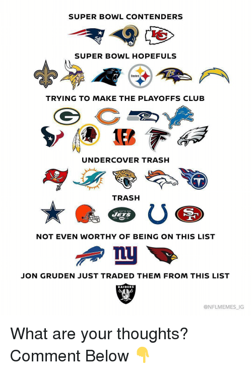 Nflmemes: SUPER BOWL CONTENDERS  SUPER BOWL HOPEFULS  Steelers  TRYING TO MAKE THE PLAYOFFS CLUB  UNDERCOVER TRASH  TRASH  JETS  NOT EVEN WORTHY OF BEING ON THIS LIST  JON GRUDEN JUST TRADED THEM FROM THIS LIST  RAIDERS  @NFLMEMES_IG What are your thoughts? Comment Below 👇
