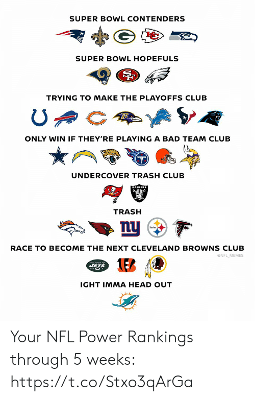 undercover: SUPER BOWL CONTENDERS  SUPER BOWL HOPEFULS  TRYING TO MAKE THE PLAYOFFS CLUB  ONLY WIN IF THEY'RE PLAYING A BAD TEAM CLUB  UNDERCOVER TRASH CLUB  RAIDERS  TRASH  nu  Steelers  RACE TO BECOME THE NEXT CLEVE LAND BROWNS CLUB  @NFL MEMES  JETS  IGHT IMMA HEAD OUT Your NFL Power Rankings through 5 weeks: https://t.co/Stxo3qArGa