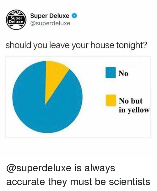 House, Dank Memes, and Super: Super  Deluxe  Super Deluxe  xe@superdeluxe  should you leave your house tonight?  No  No but  in vellow @superdeluxe is always accurate they must be scientists