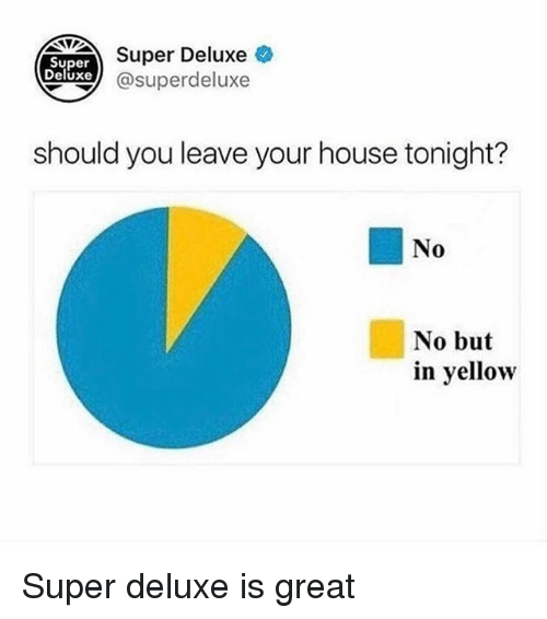 Ironic, House, and Super: Super  Deluxe  xe  Super Deluxe  xe @superdeluxe  should you leave your house tonight?  No  No but  in yellow Super deluxe is great