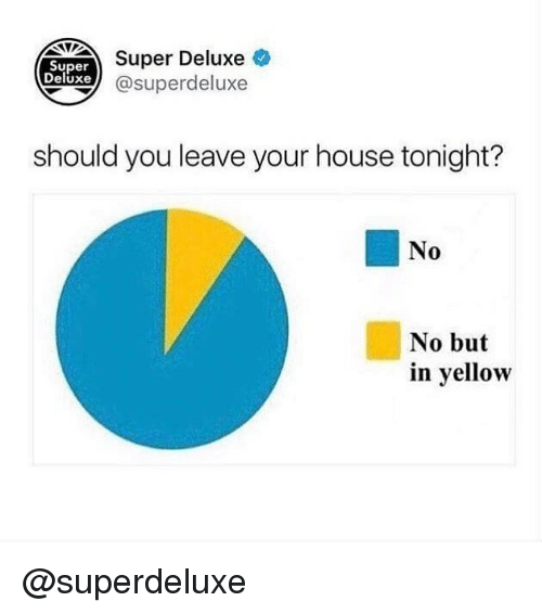 Memes, House, and 🤖: Super Deluxe  xe @superdeluxe  Super  Deluxe  should you leave your house tonight?  No  0  No but  in yellow @superdeluxe
