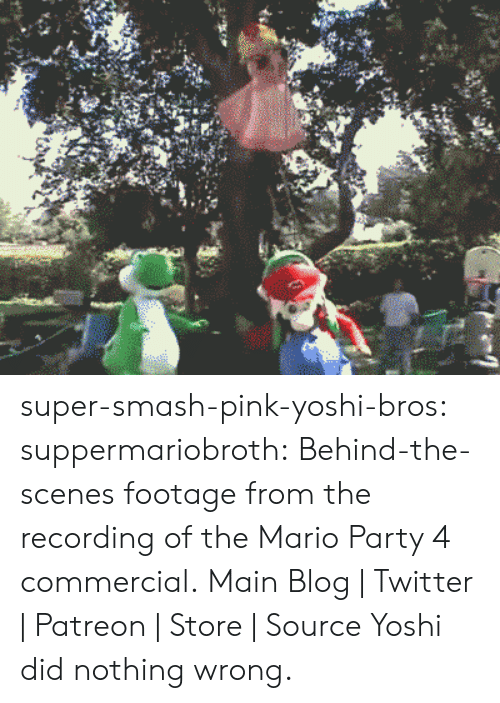 mario party: super-smash-pink-yoshi-bros: suppermariobroth:  Behind-the-scenes footage from the recording of the Mario Party 4 commercial. Main Blog   Twitter   Patreon   Store   Source  Yoshi did nothing wrong.