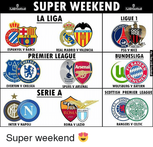 Arsenal, Celtic, and Chelsea: SUPER WEEKEND  ELADfootball  ALADfootball  LA LIGA  LIGUE 1  SAINT-G  ESPA  OGC  VALENCIA CAF.  NICE  ARCE  1970  DESPI19  ESPANYOL V BARCA  REAL MADRID V VALENCIA  PSG V NICE  PREMIER LEAGUE  BUNDESLIGA  Arsenal  Evert  OTBALL  EVERTON V CHELSEA  WOLFSBURG V BAYERN  SPURS V ARSENAL  SERIE A  SCOTTISH PREMIER LEAGUE  ROMA  RANGERS V CELTIC  INTER V NAPOLI  ROMA V LAZIO Super weekend 😍