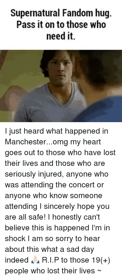 Memes, Omg, and Sorry: Supernatural Fandom hug.  Pass it on to those who  need it. I just heard what happened in Manchester...omg my heart goes out to those who have lost their lives and those who are seriously injured, anyone who was attending the concert or anyone who know someone attending I sincerely hope you are all safe! I honestly can't believe this is happened I'm in shock I am so sorry to hear about this what a sad day indeed 🙏🏻 R.I.P to those 19(+) people who lost their lives ~