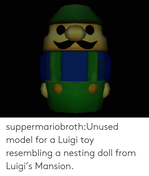 nesting: suppermariobroth:Unused model for a Luigi toy resembling a nesting doll from Luigi's Mansion.