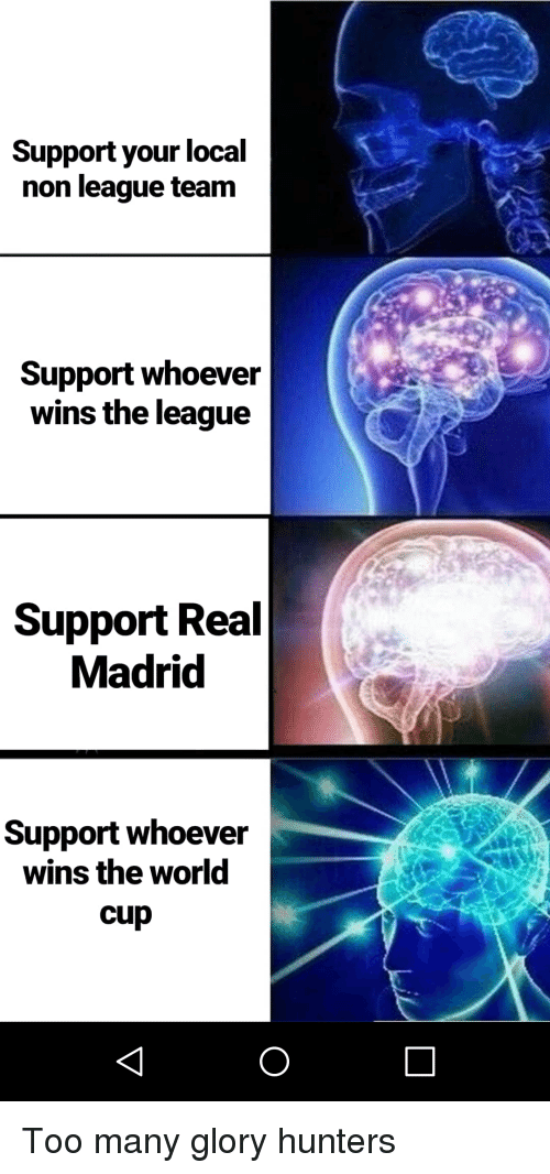 Real Madrid, World Cup, and The League: Support your local  non league team  Support whoever  wins the league  Support Real  Madrid  Support whoever  wins the world  cup