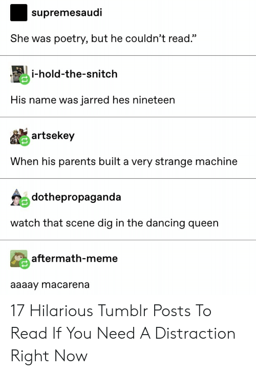"""snitch: supremesaudi  She was poetry, but he couldn't read.""""  i-hold-the-snitch  His name was jarred hes nineteen  artsekey  When his parents built a very strange machine  dothepropaganda  watch that scene dig in the dancing queen  aftermath-meme  aaaay macarena 17 Hilarious Tumblr Posts To Read If You Need A Distraction Right Now"""