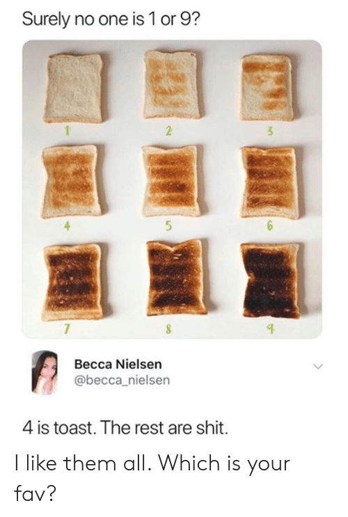 Becca: Surely no one is 1 or 9?  2  3  5  Becca Nielsen  @becca_nielsen  4 is toast. The rest are shit. I like them all. Which is your fav?
