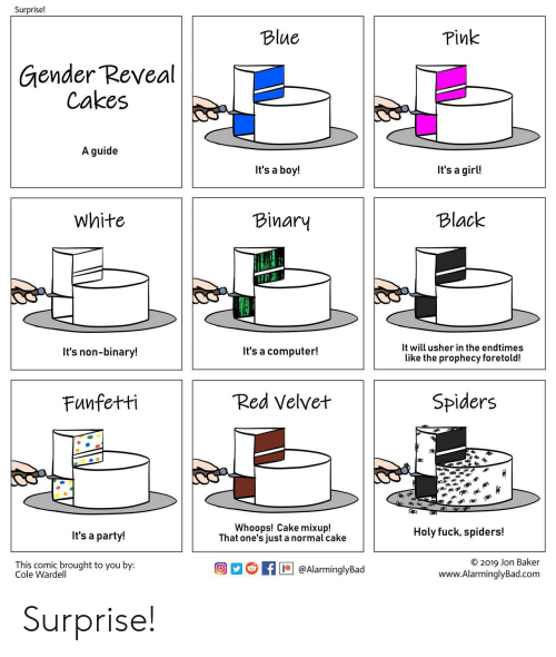 its a boy: Surprise!  Pink  Blue  Gender Reveal  Cakes  A guide  It's a girl!  It's a boy!  Black  White  Binary  It will usher in the endtimes  It's a computer!  It's non-binary!  like the prophecy foretold!  Red Velvet  Spiders  Funfetti  Whoops! Cake mixup!  That one's just a normal cake  Holy fuck, spiders!  It's a party!  O 2019 Jon Baker  www.AlarminglyBad.com  This comic brought to you by:  Cole Wardell  @AlarminglyBad Surprise!