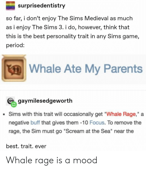 "The Sims 3: surprisedentistry  so far, i don't enjoy The Sims Medieval as much  as i enjoy The Sims 3. i do, however, think that  this is the best personality trait in any Sims game,  period:  Whale Ate My Parents  gaymilesedgeworth  Sims with this trait will occasionally get ""Whale Rage,""  negative buff that gives them -10 Focus. To remove the  rage, the Sim must go ""Scream at the Sea"" near the  best. trait. ever Whale rage is a mood"