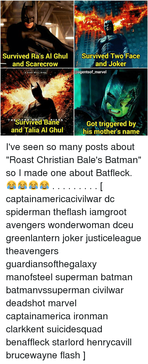 """Two-Face: Survived Ra's Al Ghul  Survived Two Face  and Joker  and Scarecrow  @agentsof marvel  A FIRE WILL RISA  THESurvived RISES  Got triggered by  and Talia Al Ghul.  his mother's name I've seen so many posts about """"Roast Christian Bale's Batman"""" so I made one about Batfleck. 😂😂😂😂 . . . . . . . . . [ captainamericacivilwar dc spiderman theflash iamgroot avengers wonderwoman dceu greenlantern joker justiceleague theavengers guardiansofthegalaxy manofsteel superman batman batmanvssuperman civilwar deadshot marvel captainamerica ironman clarkkent suicidesquad benaffleck starlord henrycavill brucewayne flash ]"""
