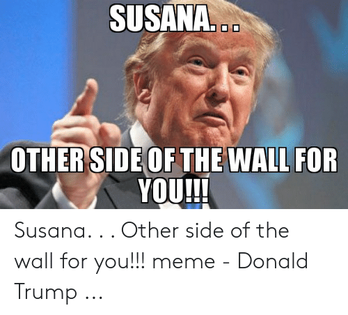 Other Side Of The Wall For You: SUSANA...  OTHER SIDE OF THE WALL FOR  YOU!!! Susana. . . Other side of the wall for you!!! meme - Donald Trump ...