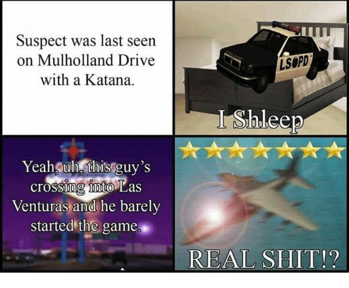 katana: Suspect was last seen  on Mulholland Drive  with a Katana.  LSOPD  Yeah uh this guy's  crossih nito Las  Venturas and he barely  started the game  0  17