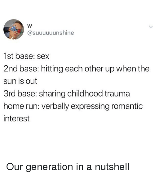 Funny, Run, and Sex: @suuuuuunshine  1st base: sex  2nd base: hitting each other up when the  sun is out  3rd base: sharing childhood trauma  home run: verbally expressing romantic  interest Our generation in a nutshell