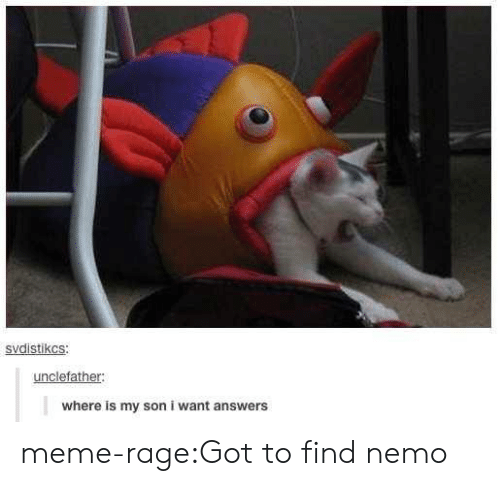 Meme Rage: svdistikcS  unclefather:  where is my son i want answers meme-rage:Got to find nemo