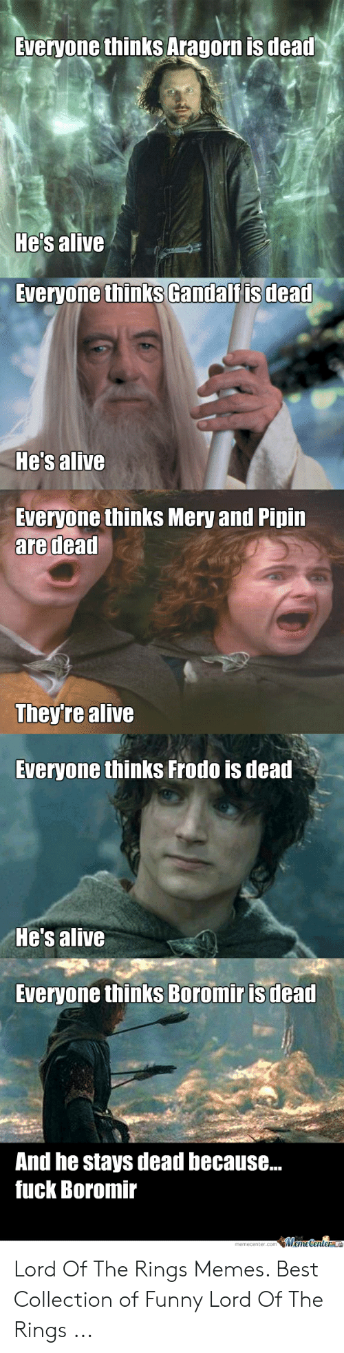 Funny Lord Of The Rings: Sveryone thinks Aragorn is deat  He's alive  Everyone thinks Gandalfis dead  Hes alive  Everyone thinks Mery and Pipin  are dead  They're alive  Everyone thinks Frodo is dead  He's alive  Everyone thinks Boromir is dead  And he stays dead because...  fuck Boromir  memecenter.com MemeCenterl Lord Of The Rings Memes. Best Collection of Funny Lord Of The Rings ...
