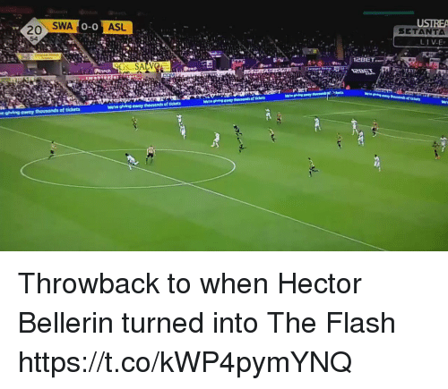 Hector Bellerin: SWA  ASL  USIREA  SETANTA  0-0  20  54  2BET  we're glving away thousands of tickets Throwback to when Hector Bellerin turned into The Flash https://t.co/kWP4pymYNQ