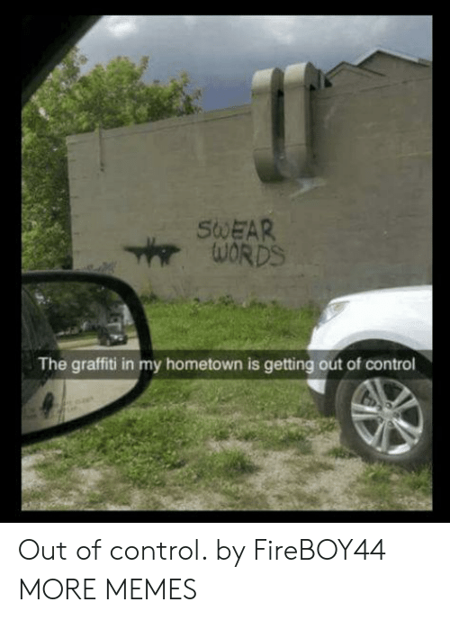 out of control: SWEAR  The graffiti in my hometown is getting out of control Out of control. by FireBOY44 MORE MEMES