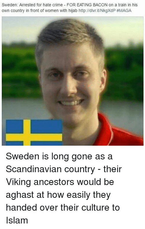 Crime, Memes, and Http: Sweden: Arrested for hate crime FOR EATING BACON on a train in his  own country in front of women with hijab http://dlv.it/NkgXdP Sweden is long gone as a Scandinavian country - their Viking ancestors would be aghast at how easily they handed over their culture to Islam