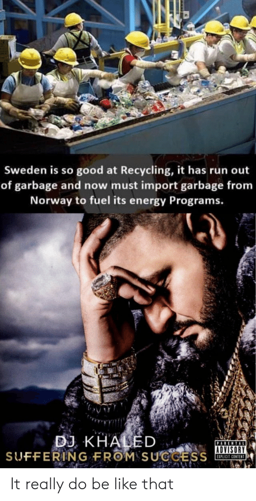 recycling: Sweden is so good at Recycling, it has run out  of garbage and now must import garbage from  Norway to fuel its energy Programs.  ADVISORY  EIPLICIT CONTENT It really do be like that